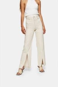 Topshop Ecru Split Front Jeans | slit hem jean | neutral denim | open hems