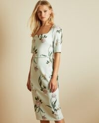 TED BAKER MAGIEYY Elderflower fitted dress in mint / light green floral dresses