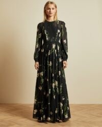 TED BAKER DEENHA Elderflower maxi dress in black / romantic floral occasion dresses
