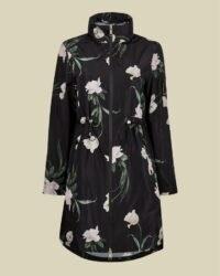 TED BAKER ORRIANA Elderflower packaway rain mac in black – high neck floral macs – rainwear