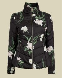 ADAENA Elderflower padded packaway jacket in black / floral quilted funnel neck jackets