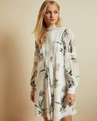 TED BAKER LEYORA Elderflower smock dress in white / vintage look long sleeve high neck dresses