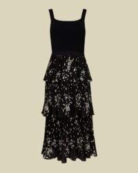 TED BAKER BETEE Elderflower tiered midi dress in black