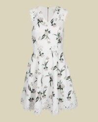 NOLLA Elderflower V neck skater dress in white / sleeveless fit and flare dresses