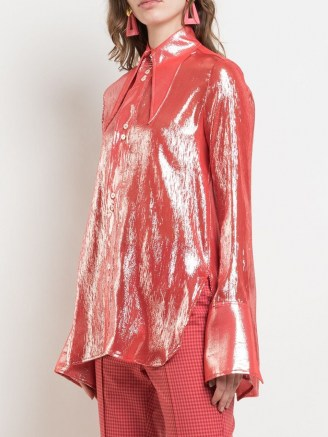 Ellery metallized pointed-collar shirt in red – shimmering oversized pointed collar shirts - flipped