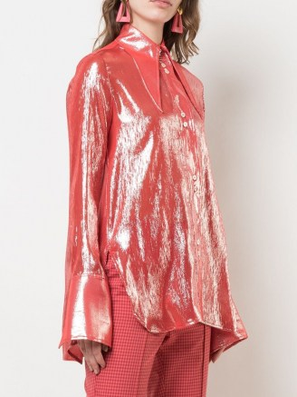 Ellery metallized pointed-collar shirt in red – shimmering oversized pointed collar shirts