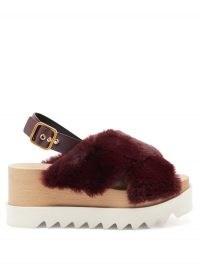 STELLA MCCARTNEY Elyse burgundy faux-shearling platform sandals / fluffy flatforms / slingback platforms