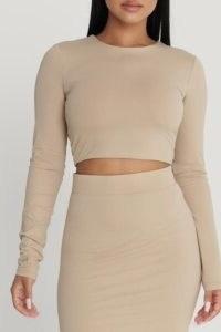 MESHKI EMELY Long Sleeve Crop Top Almond ~ figure-hugging tops