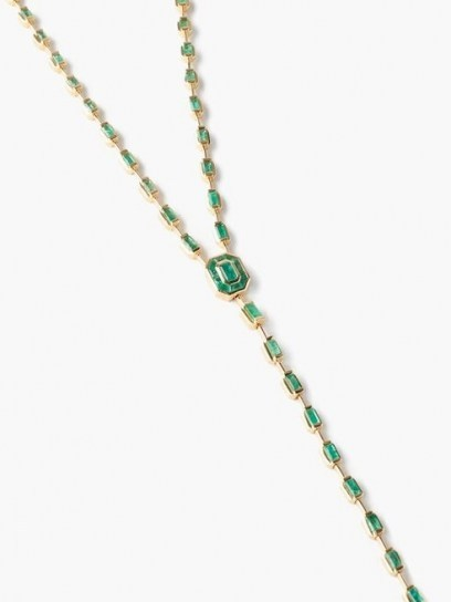 SHAY Emerald & 18kt gold illusion drop necklace ~ luxe longline necklaces ~ green gemstones - flipped