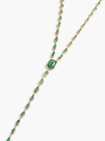 SHAY Emerald & 18kt gold illusion drop necklace ~ luxe longline necklaces ~ green gemstones
