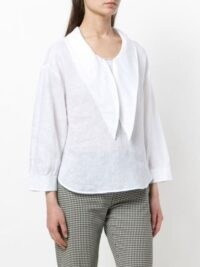 Emporio Armani pointed-collar bouse – oversized pointed collars – linen blouses