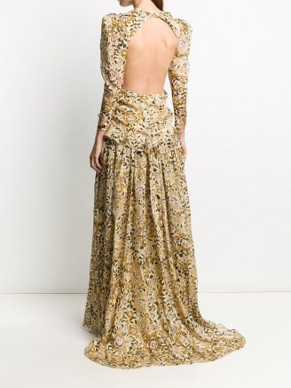 Etro floral-print open back gown - flipped