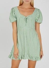 FAITHFULL THE BRAND Agathe green checked rayon mini dress / gingham dresses