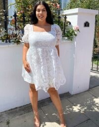 Fashion Union Plus mini sheer smock dress in white floral is sure pretty!
