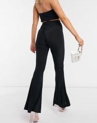 Fashionkilla flare trouser with ruched bum detail in black | glamorous evening flares | going out trousers | party fashion