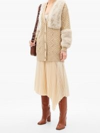 STELLA MCCARTNEY Faux-fur panel cable-knit wool cardigan in camel / paneled cardigans