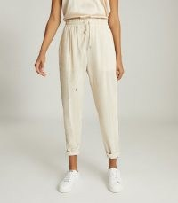 REISS FELICITY ITALIAN NEEDLE CORD JOGGERS NEUTRAL ~ casual clothing ~ loungewear