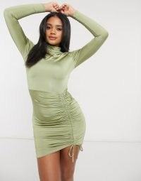 Femme Luxe long sleeve ruched detail mini dress in pistachio ~ green gatherd going out dresses