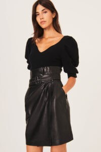 ba&sh Fidji skirt Black ~ high waist wrap skirts ~ luxe leather clothing ~ wrapover styling