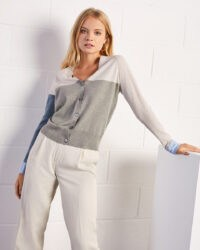 JIGSAW FINE COLOURBLOCK CARDIGAN STONE / colour block cardigans