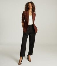 REISS FINLEY DOUBLE BREASTED TWILL BLAZER TOBACCO ~ brown tailored blazers