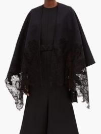 VALENTINO GARAVANI Floral lace-trimmed black cashmere-blend cape ~ lace trimmed capes