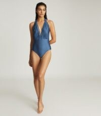 REISS FLORESTINE WEAVE DETAIL SWIMSUIT NAVY | blue deep plunge swimsuits | plunging V-neck one piece
