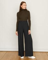 JIGSAW FLUID CREPE PALAZZO TROUSER Black / front pleat wide leg trousers