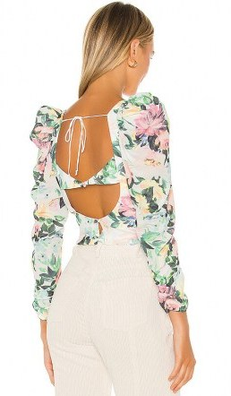 For Love & Lemons Bailey Crop Top | open back puff sleeve tops - flipped