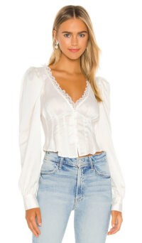 For Love & Lemons Elisa Blouse Creme | satin and lace trim blouses