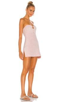 Frankies Bikinis Martini Dress Baby Pink ~ strapless summer mini dresses ~ side slit hem