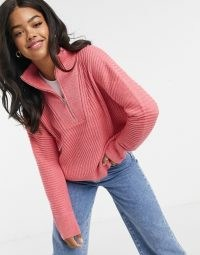 French Connection half zip jumper in rose ~ pink pullover ~ high neck slouchy jumpers ~ knitwear