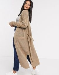 French Connection longline cardigan in camel ~ maxi cardigans ~ side split tie waist cardi ~ brown knitwear