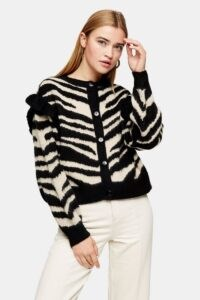 TOPSHOP Frill Sleeve Zebra Print Cardigan – animal patterned knitwear – frilled cardigans