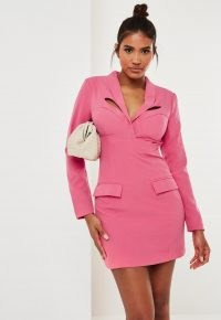 Missguided fuchsia corset detail tailored blazer dress | pink going out dresses