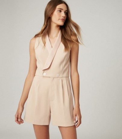 REISS GEORGIA TUXEDO FRONT PLAYSUIT NEUTRAL ~ luxe playsuits ~ evening wear ~ party clothing - flipped