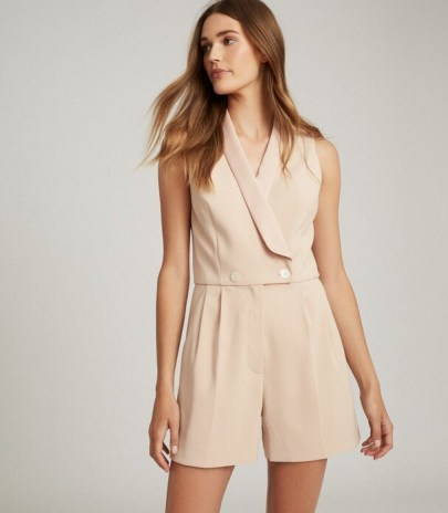 REISS GEORGIA TUXEDO FRONT PLAYSUIT NEUTRAL ~ luxe playsuits ~ evening wear ~ party clothing