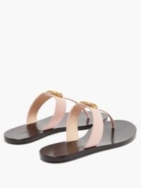 GUCCI GG-plaque leather slides in pink ~ luxe t-bar slide