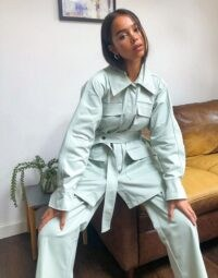 Ghospell Oversized Belted Shacket Co-ord in Sage ~ green jacket co ord ~ shackets ~ fashion co-ords ~ jackets and trouser sets