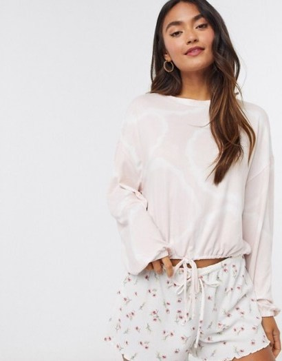 Gilly Hicks cosy long sleeve pyjama top in light pink - flipped