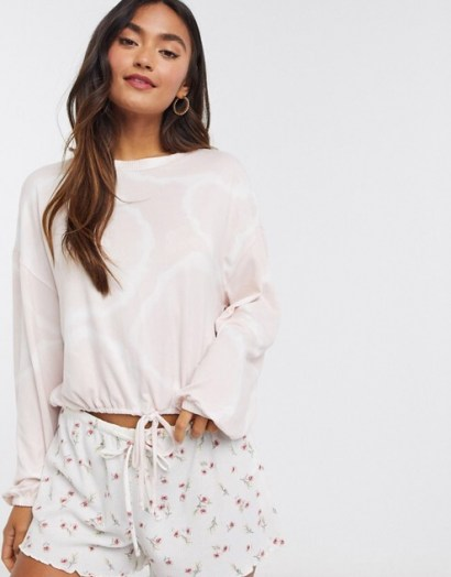 Gilly Hicks cosy long sleeve pyjama top in light pink
