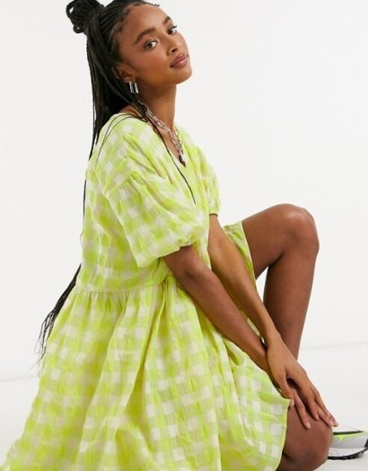 Glamorous oversized mini smock dress in neon check | loose fit dresses - flipped