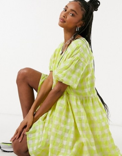 Glamorous oversized mini smock dress in neon check | loose fit dresses