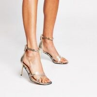 RIVER ISLAND Gold crossover perspex high heel ~ party heels ~ going out shoes ~ chain detail ankle strap