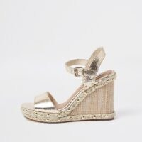 River Island Gold studded wedge sandal | metallic stud embellished wedged heels