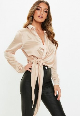 MISSGUIDED gold satin tie side blouse – slinky wrap blouses - flipped