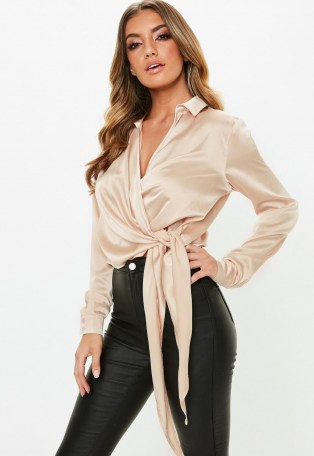 MISSGUIDED gold satin tie side blouse – slinky wrap blouses
