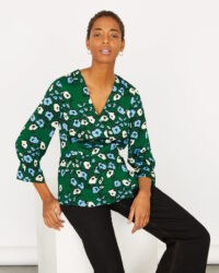 JIGSAW GRAPHIC POPPY WRAP TOP EVERGREEN / green floral tops