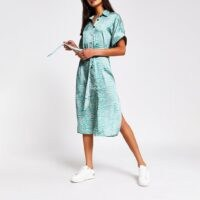 RIVER ISLAND Green animal print shirt midi dress / side split day dresses