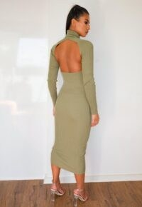 MISSGUIDED green cut out back knitted midaxi dress ~ cut-out backs
